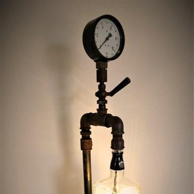 Steampunk XL, 75cm hoch, 1,5 l Flasche, 5 Watt LED warmweiss, Kabelschalter