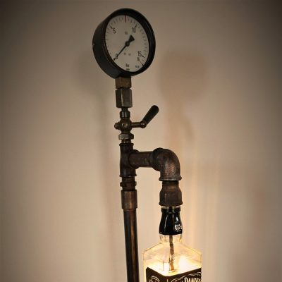 Steampunk JackLamp, 65 cm hoch, 4 Watt LED warmweiss, Kabelschalter